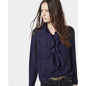 The Kooples Blue Ruffle Button Down